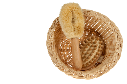 Wicker basket with massage bath brush
